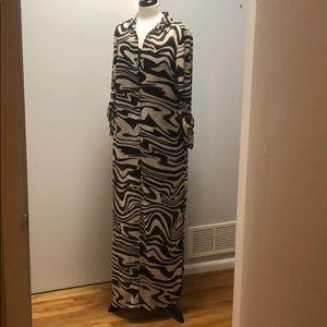 NWT Michael Kors Brown Zebra Striped Button Dress